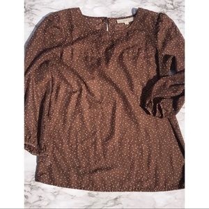 LOFT brown spotted lightweight sheer top size S
